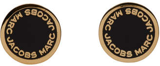 Marc Jacobs Gold and Black Logo Stud Earrings