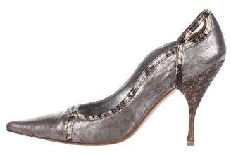 Miu Miu Metallic Leather Pointed-Toe Pumps