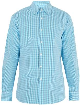 Prada Single-cuff gingham cotton-poplin shirt