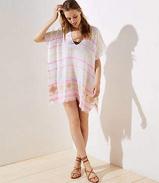 LOFT Beach Striped Kaftan Dress