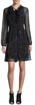Elie Tahari Desi Tie-Neck Floral Silk Chiffon Dress, Black Multi $498 thestylecure.com