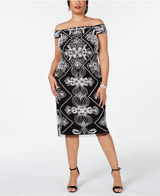 1b7532a9 Adrianna Papell Plus Size Embellished Off-The-Shoulder Sheath Dress