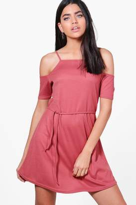 boohoo Poppy Cold Shoulder Rib Knit Dress
