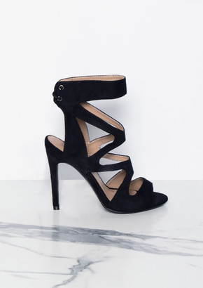 69efae2b029 Missy Empire Missyempire Audrey Black Cut Out Suede Lace Up Heels