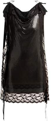Christopher Kane Lace Trim Chainmail Mini Dress - Womens - Black