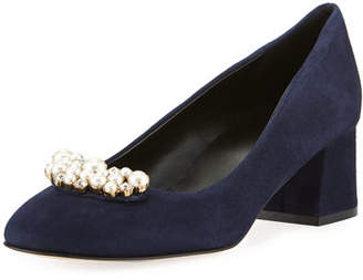 Sesto Meucci Mindy Low-Heel Pearly Ornament Pumps, Navy