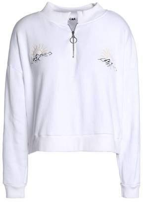 LnA Embroidered Cotton-Fleece Sweatshirt