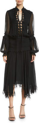 Jonathan Simkhai Collection Tie-Neck Gathered-Sleeve Handkerchief Smocked Silk Dress