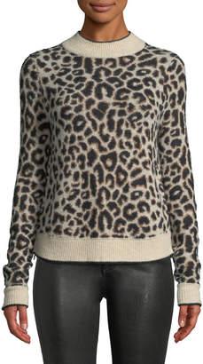 Veronica Beard Marly Leopard-Print Crewneck Pullover Sweater