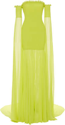 Christian Siriano Off-The-Shoulder Draped Silk Gown