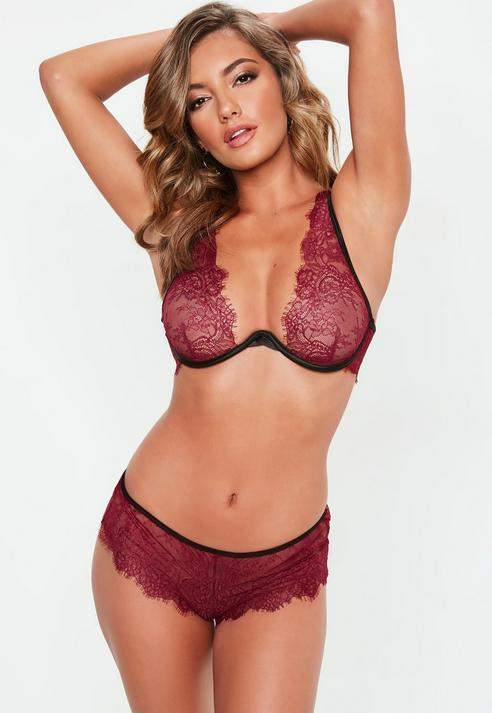 Burgundy Peek and Beau Lace Bra