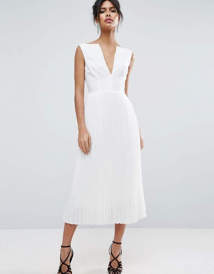 AsosASOS Deep V Pleated Midi Dress