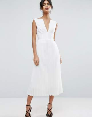 ASOS Deep V Pleated Midi Dress $91 thestylecure.com
