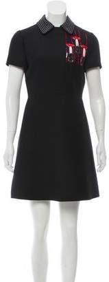 Valentino Embellished Wool & Silk Dress