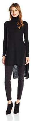 Maison Scotch Scotch & Soda Women's Fine Knit Melange Turtleneck Top With High Side Slits