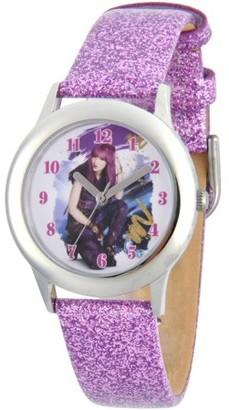 Disney Descendants 2 Mal Tween Girls' Stainless Steel Watch, Purple Glitter Leather Strap