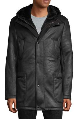 Saks Fifth Avenue Hooded Faux Shearling Coat