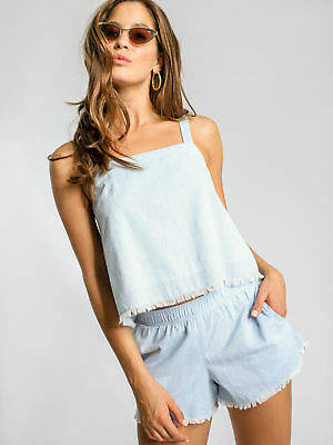 Nude Lucy New Bedford Chambray Cami In Sky Blue Womens Singlets & Camisole's