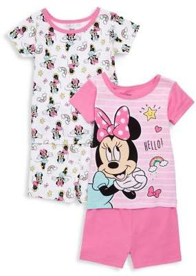 AME Sleepwear Little Girl's Set-of-2 Minnie Mouse Pajamas