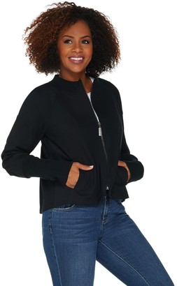 Peace Love World Zip Front Nylon Jacket w/ Peplum Back