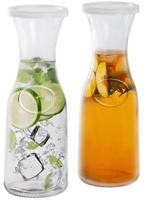 Estilo Glass Beverage Pitcher Carafe With Plastic Lids, Narrow Neck Design, 1 liter (33oz) Set of 2