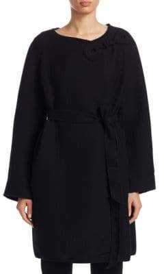 Emporio Armani Jaquard Embroidered Belted Coat