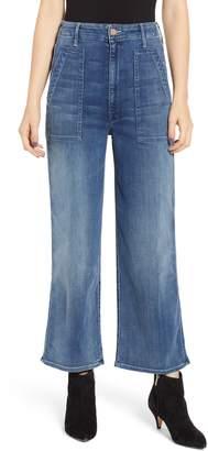 Mother Greaser Patch Pocket High Waist Crop Wide Leg Jeans