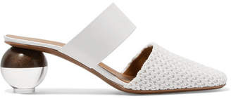 Neous - Masdevallia Leather And Crochet Mules - White