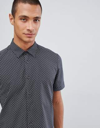 Ted Baker short sleeve shirt in navy with geo print