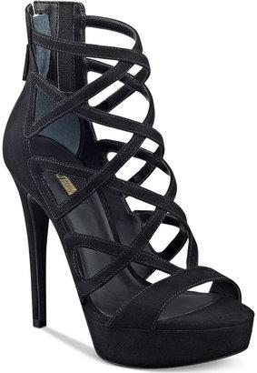 GUESS Women's Kadani Caged Platform High-Heel Sandals $99 thestylecure.com
