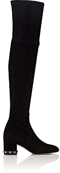 Valentino Garavani Women's Rockstud Suede Over-The-Knee Boots