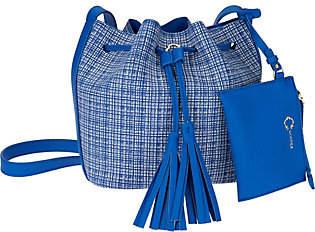 C. WonderC. Wonder Printed Pebble Leather Crossbody Bucket Handbag