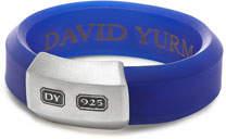 David Yurman Men's Hex Band Ring in Blue Rubber & Sterling Silver