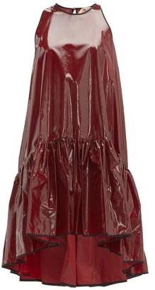 No.21 No. 21 - Dropped Hem Coated Silk Mini Dress - Womens - Burgundy