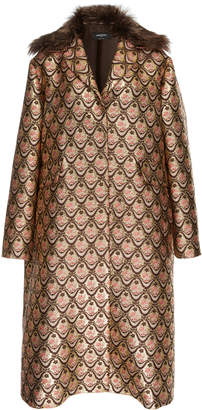 Rochas Fur Trimmed Metallic Jacquard Coat