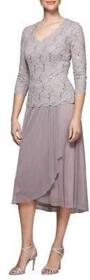Alex Evenings Lace Tea-Length Dress