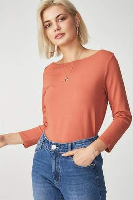 Cotton On Everyday 3/4 Sleeve Boat Neck Top
