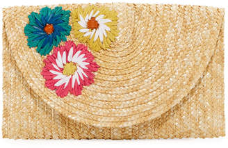 San Diego Hat Company Woven Straw Floral Clutch Bag