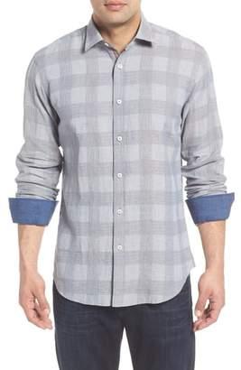 Bugatchi Shaped Fit Check Linen Blend Sport Shirt
