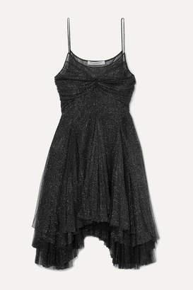 Philosophy di Lorenzo Serafini Asymmetric Metallic Tulle Mini Dress - Black