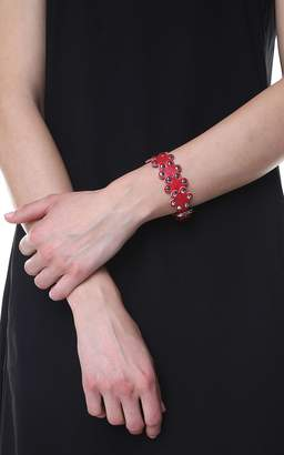 RED Valentino Flower Puzzle Leather Bracelet