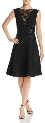 Tadashi Shoji Lace & Sequined Pintuck Fit-and-Flare Dress