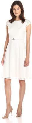 Kasper Women's Belted Cap Sleeve Full Skirt Lace