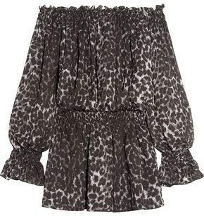 Norma Kamali Off-The-Shoulder Leopard-Print Chiffon Mini Dress