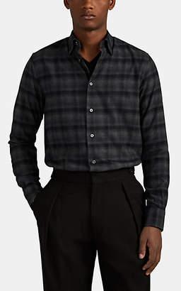 Brioni Men's Plaid Cotton Flannel Shirt - Black