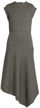 Raey Asymmetric Hem Woven Cotton Blend Dress - Womens - Navy White
