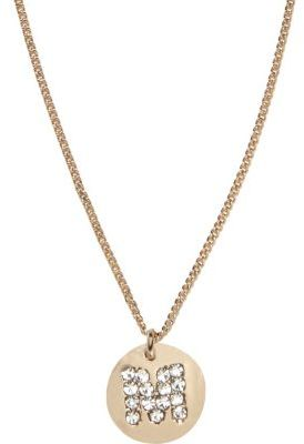 Gold tone diamante M initial necklace