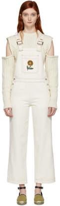 ALEXACHUNG White Oversized Denim Overalls