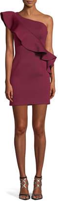 Jovani One-Shoulder Asymmetric Ruffle Mini Cocktail Dress
