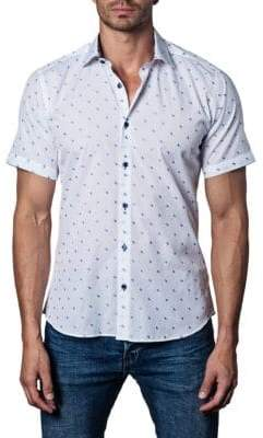 Jared Lang Printed Short-Sleeve Button-Down Shirt
